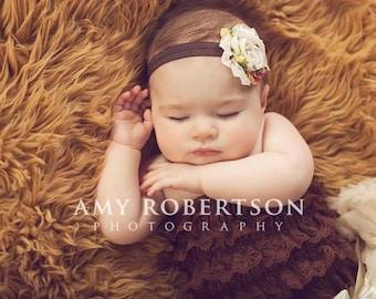 Baby Flower Headband- Vintage Rose Print Chiffon Flower on Soft Brown Elastic Headband
