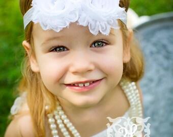 Baby Flower Headband- Double White Shabby Frayed Flower on Soft Light Grey Elastic Headband