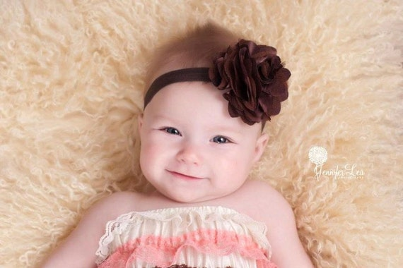 Baby Flower Headband- Brown Chiffon and Tulle Flower on Soft Brown Elastic Headband