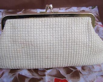 Vintage 70's Soft  Handbag Warm Vanilla Color with Gold Toned Frame made in Hong Kong