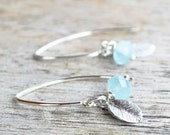 Soft Blue Aquamarine Gemstones and Tiny Leaves Earrings, March Birthstone, Gift for Her, Everyday Wear