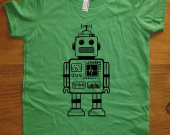 Robot Shirt - Retro Robot Kids T Shirt - 8 Colors Available - Sizes 2T, 4T, 6, 8, 10, 12 - Gift Friendly