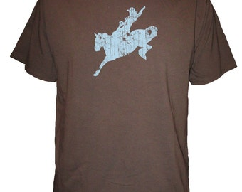 Horse Shirt - Rodeo Cowboy T Shirt - Mens Organic TShirt - Gift Friendly