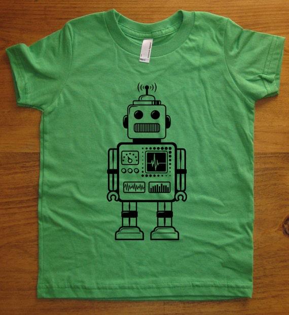 Robot Shirt - Retro Robot Kids T Shirt - 8 Colors Available - Sizes 2T, 4T, 6, 8, 10, 12 - Gift Friendly