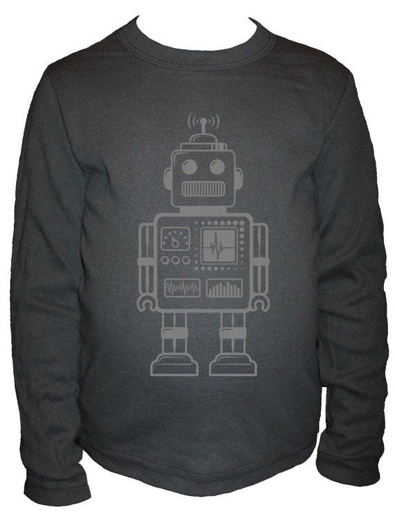 Robot Shirt - Long Sleeved Kids Shirt - Retro Robot Kids T Shirt - Sizes 2T, 10 - Gift Friendly