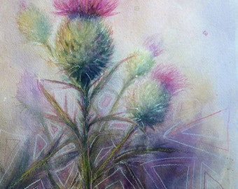 THISTLE Original Mixed Media Painting on Paper