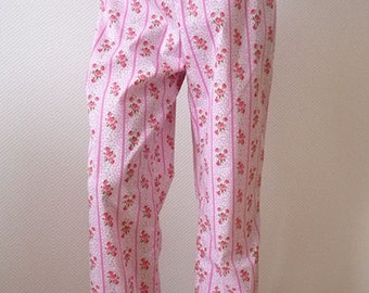 Pajama Pant. Small. Pink. Sweet Rose Bouquet. On Sale