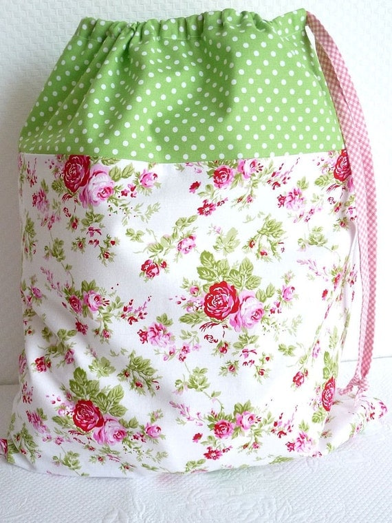 Laundry Bag. Lingerie Bag. Large. Shabby Chic Drawstring Bag. Floral. Green Polkadots. Cath Kidston-esque. Storage bag