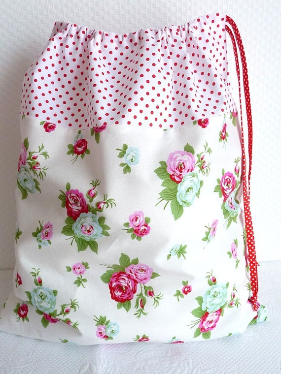 Laundry Bag. Lingerie Bag. Large.  Polka dots and Rose print