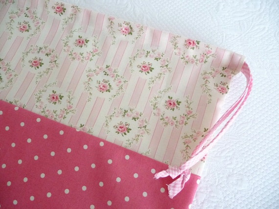 Shabby Chic Laundry Bag. Lingerie Bag. Sweet Rose Medallion. Polkadots. Pink
