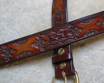 Hand-tooled Leather Belt - B21108 - Made-To-Order