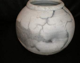 Horse Hair Pottery OLD Native American-Navajo Artist Signed Piece With Partial Chippy Glaze- Good Size