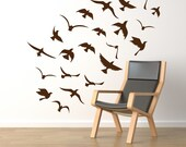 Birds wall decals, window decals, vinyl stickers - seagulls flock. 22 birds wall decals
