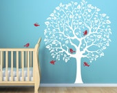 White Tree Cute Nursery decal for baby's room. Original wall decal sticker for baby nursery room
