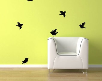 Birds Wall Decal - 6 Birds flying. FREE Shipping Bird vinyl sticker Decal sku1552