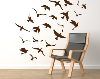 Birds wall decals, window decals, vinyl stickers - seagulls flock. 22 birds wall decals