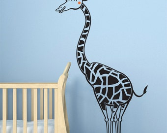 Boy's room decor - Giraffe wall decal, nursery decal sticker. NEW Safari theme