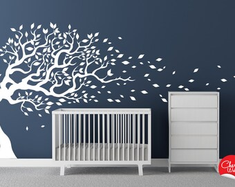 Nursery Decal Tree blowing in the wind. Kids room, playroom wall sticker