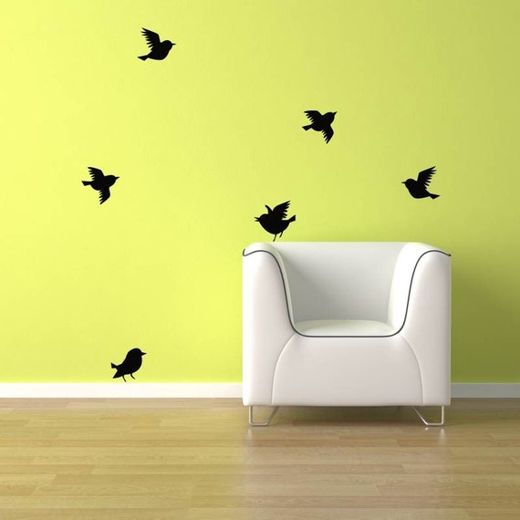 birds wall decal 6 birds flying free shipping bird vinyl feather flying bird wall decal vinyl stickers abstract wall