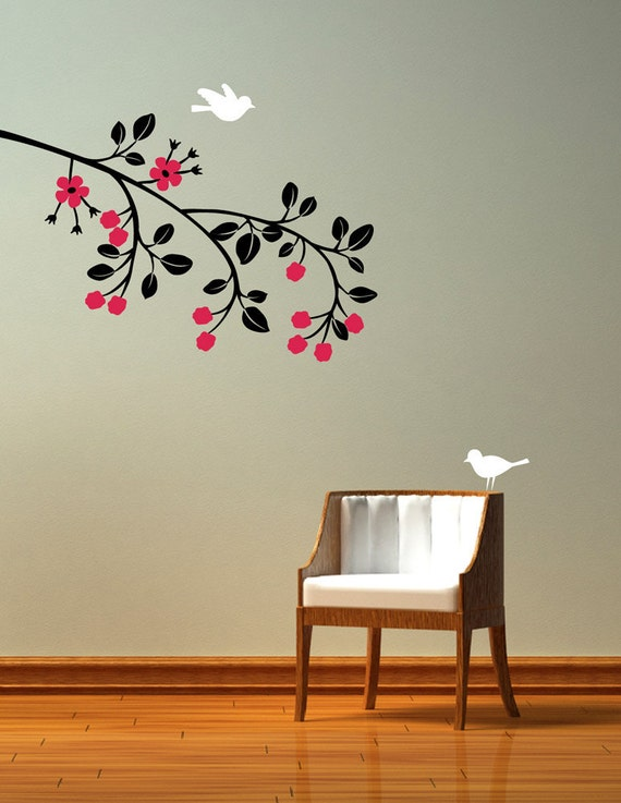 Raspberry Branch for wall decoration. Birds and flowers removable Wall Decal