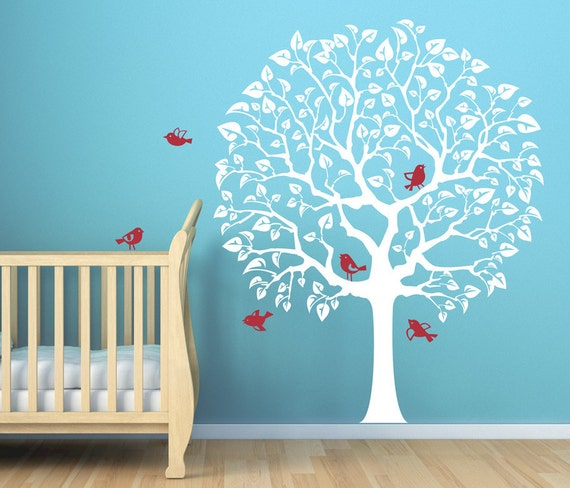 Wall Decor Infant Room : Items similar to white tree cute nursery decal for baby s