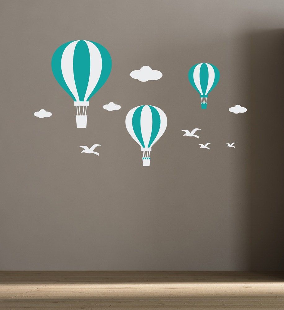 Wall decals hot air balloons for kids room baby room decor for Baby room decoration wall stickers