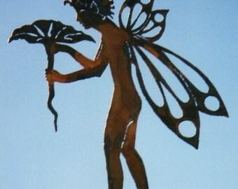 Flower Fairy Yard Art Stake by Rustiques Garden Art