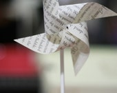 Book Wedding, book page favor book decor 12 Mini Spinnable Pinwheels A Book Tale - Book Party favor