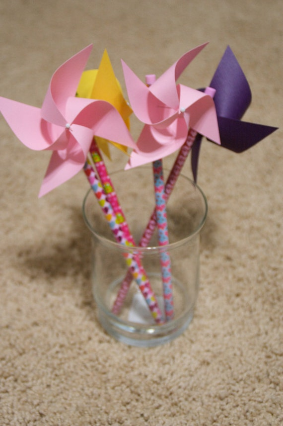 Party Favor 6 Mini Pinwheel pencils (Custom orders welcomed)