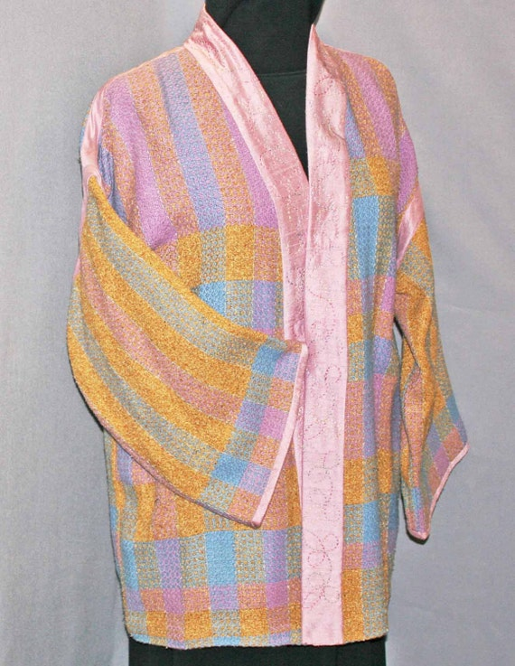 Silk kimono jacket in lilac, blue, gold, handwoven silk, embroidered silk