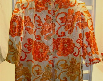 Ladies Silk Oriental Jacket Kimono with Orange and Gold Floral Motif, Sz Med to Large