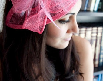 """Pink Fascinator - """"Penny"""" Mesh Hat Fascinator with Mesh Ribbons and Pink Feathers"""