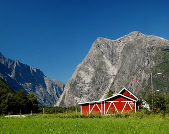 Dreamy landscape photo art, red mountain cabin in Norway, rugged mountan, room decor, travel photography