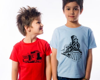 Vintage Feel Train Birthday Shirt - Set of 2 - Fourth Birthday Shirt and Caboose T-Shirt- Vintage Feel Graphic Train -Train Party