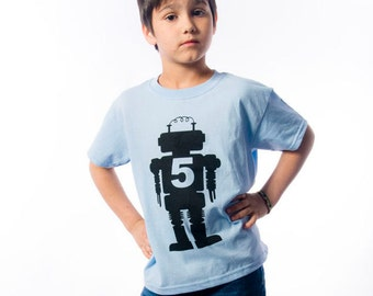 Retro Robot Birthday Shirt - Robot Theme Birthday Party - Numbered Robot Birthday Tee - Outer-space Birthday-Choose your number