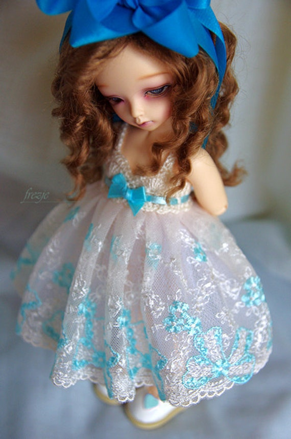 Ecru & turquoise dress for TINY bjd LittleFee 02