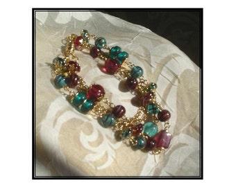 Cranberry & Emerald Bauble Bracelet