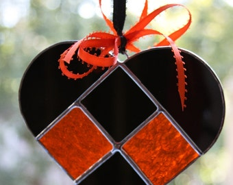 Black & Orange Harley Davidson Stained Glass Heart Suncatcher