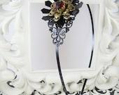 Black Filigree and Red Rhinestone Headband