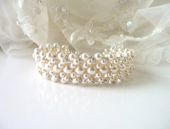 Pearl Cuff - Pearl Wedding Bracelet, Pearl Bridal Bracelet, Cuff Bracelet, White or Ivory Pearl, Bridal Jewelry, Beaded Pearl Bracelet
