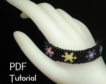 "PDF - ""StarLite Mini Flowers"" bracelet and earrings odd count peyote PDF tutorial"