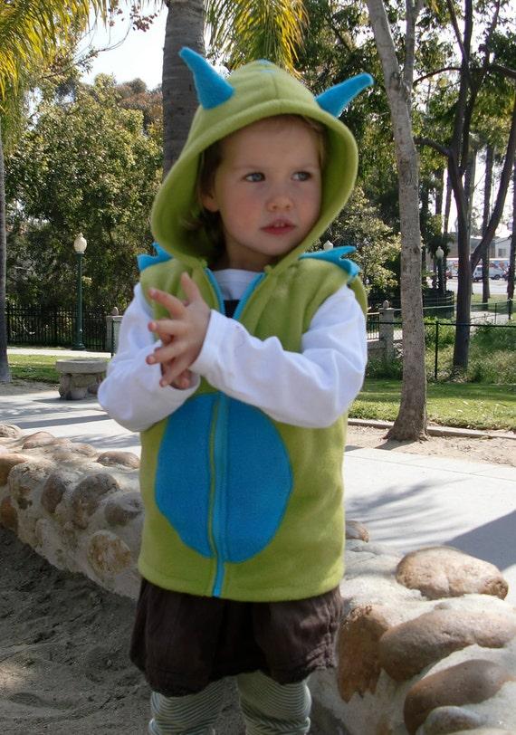 Growly Monster kids fleece vest hoodie
