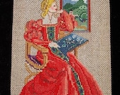 Tudor Lady Tapestry, Renaissance, Dollhouse Miniature 1/12 Scale, Lady in Red, Hand Made in the USA
