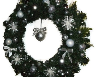 """Silver & White Snowflake Artificial Evergreen Wreath 24"""" - Free Shipping US Only"""