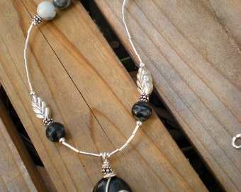 Winter's Dream beaded necklace, one of a kind, picasso jasper, sterling silver, feather charm