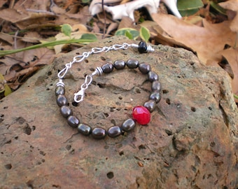 Dragon Heart beaded bracelet, one of a kind, sable freshwater pearls, red quartz, sterling silver, unique jewelry by Grey Girl Designs