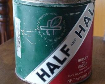 Half and Half Smoking Tobacco Tin, 14 oz. Burley and Bright, Original Lid, Tobacciana, Collectible