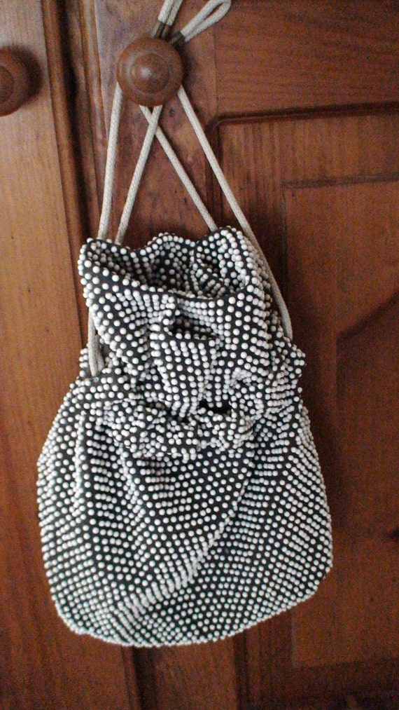Vintage 1950's Beaded Drawstring Handbag, White Beads on Charcoal Black Fabric, Fully Lined