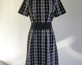1970s dress / 70s Black Checkback dress