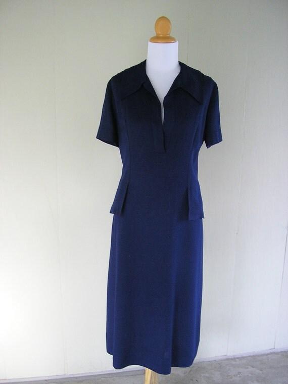 vintage linen dress /  60s linen dress / Navy Sailor Shift Dress